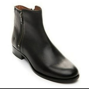 Frye Carly Double Zip Black Leather Booties